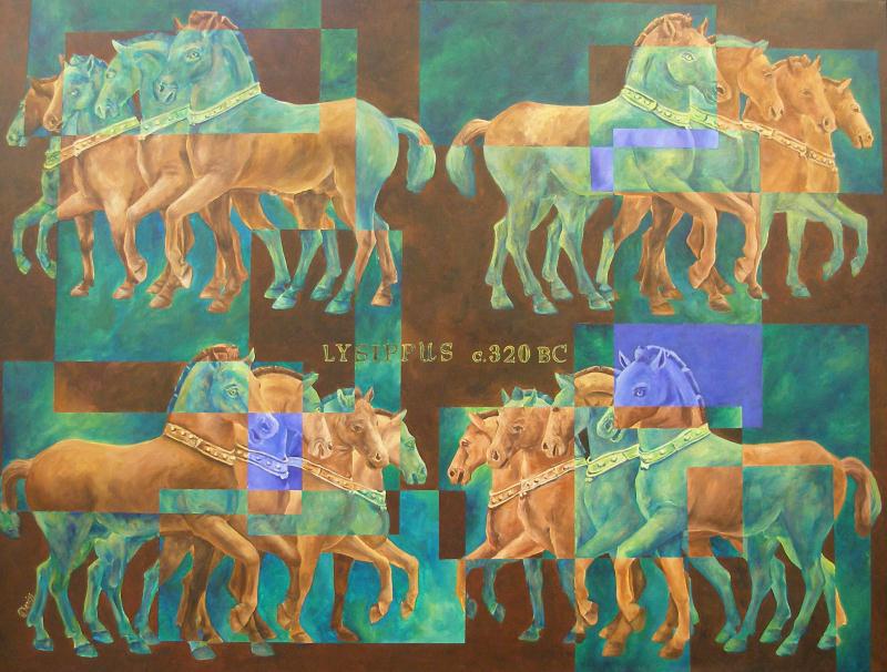 64 Legs- Lysippus c. 320 BC (Horses of St. Mark's Basilica) – Acrylic – 36″ x 48″