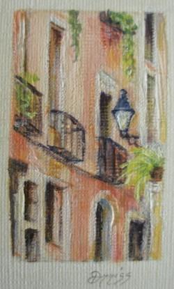Balcony, Barcelona, Spain – Acrylic – 4 cm x 2.5 cm