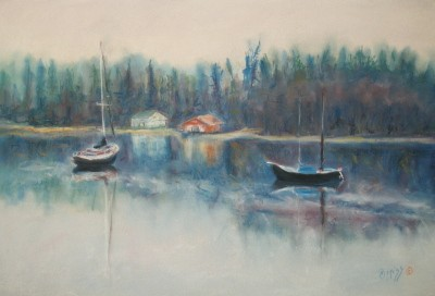 The Boats, Comox, B.C. – Pastel – 12″ x 18″