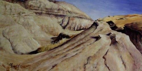 Badlands III – Acrylic on Hardboard – 8″ x 16″, $480