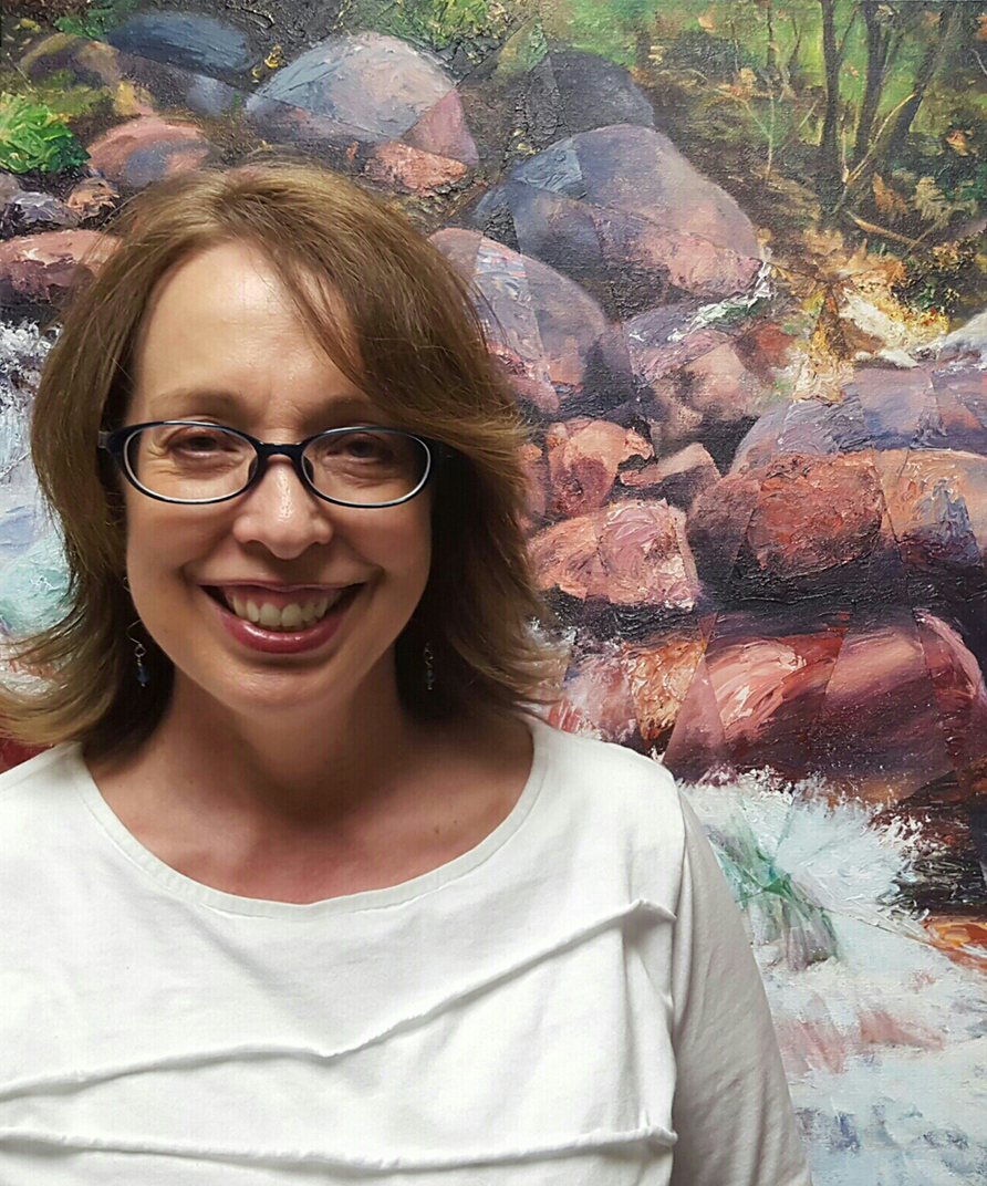 "Dixie Orriss, Artist, with her acrylic landscape painting titled ""Abound"""