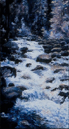 Excelsior Creek I – 16″ x 8″ – Acrylic on Hardboard – Sold