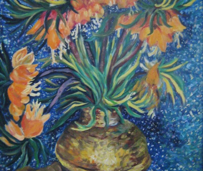 Fritillaries in a Copper Vase – Oil – 28″ x 24″