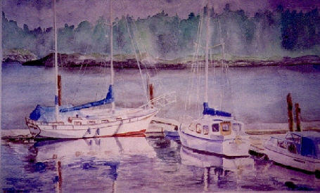 "Gabriola Island Harbour – 17″ x 23.5 "" – Watercolor – Sold"