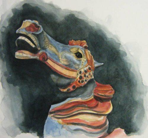 Carousel Horse – Graphite Watercolour Study