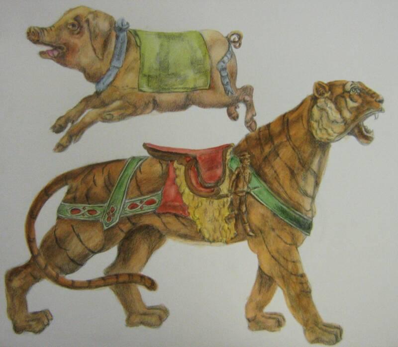 Pig & Tiger – Graphite Watercolour Study