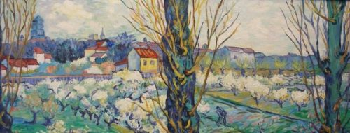 Orchard in Blossom with View of Arles (Detail) – Acrylic – 14″ x 36″