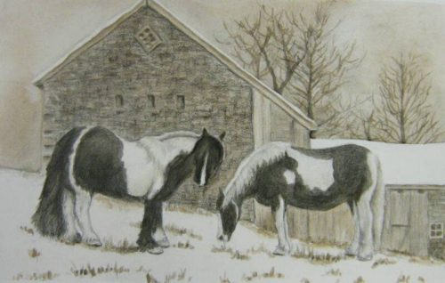 Pair of Ponies – Graphite & Watercolor – 12″ x 16″