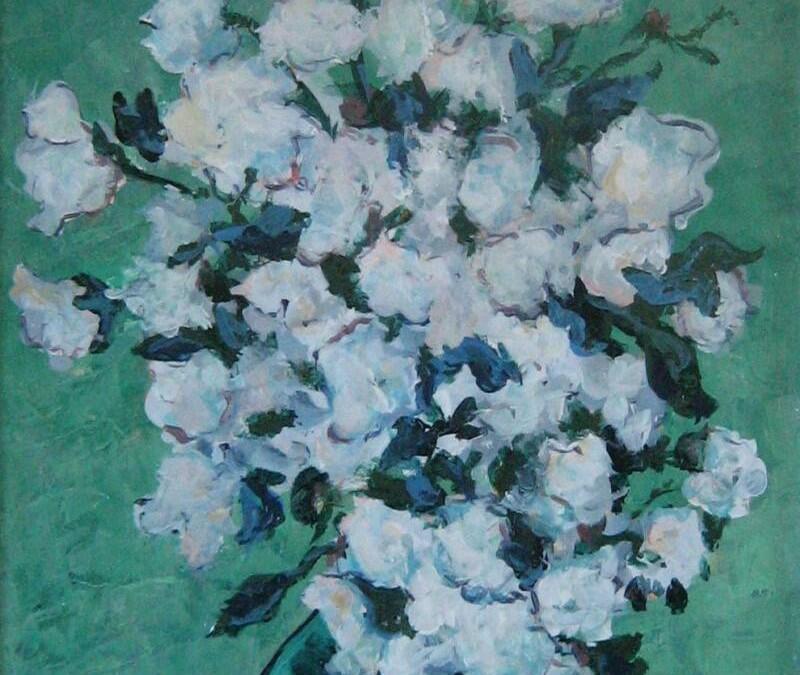 Van Gogh's Flowers – Acrylic on Hardboard – 16″ x 8″