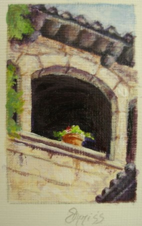 Window at the Picasso Museum. Barcelona, Spain – Acrylic – 4 cm x 2.5 cm