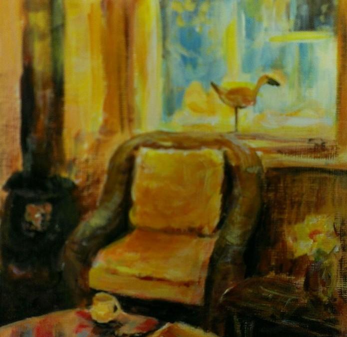 A Corner in the Cabin – Acrylic – 5″ x 5″