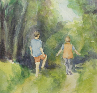 On A Stroll – Watercolor