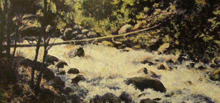 Excelsior Creek II – 8″ x 16″- Acrylic on Hardboard – Sold