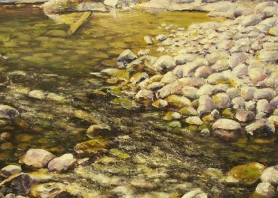 Maligne River – Acrylic on Hardboard – 8″ x 16″