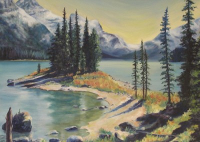 Spirit Island II, Maligne Lake – Oil – 44″ x 40″