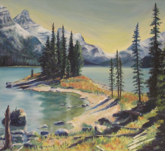Spirit Island II, Maligne Lake – Oil – 44″ x 40″