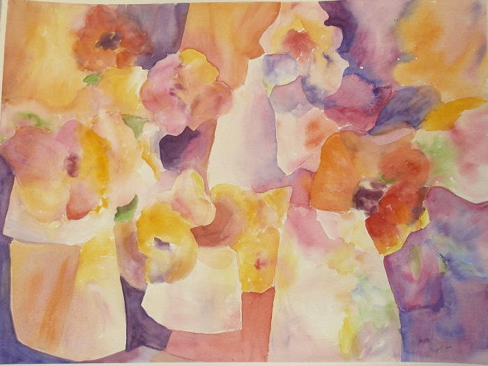 Abstract Flowers – Watercolor – 22″ x 29″