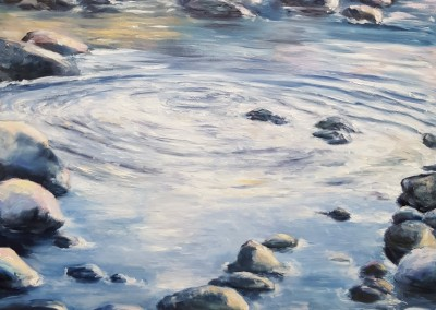 Rocky Shore II – 30″ x 24″ – Oil on Wood, $1400