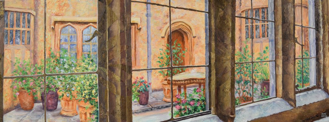 The Courtyard, Acrylic on Canvas, 20.5″ x 54.5″