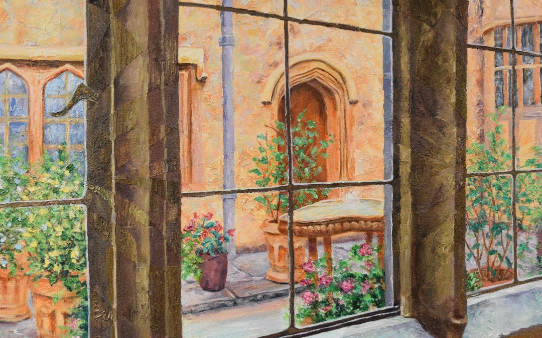 The Courtyard, Acrylic on Canvas, 20.5″ x 54.5″, $2100