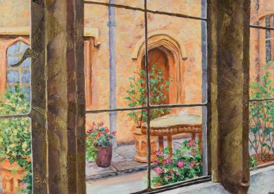 The Courtyard, Acrylic on Canvas, 20.5″ x 54.5″, $2100