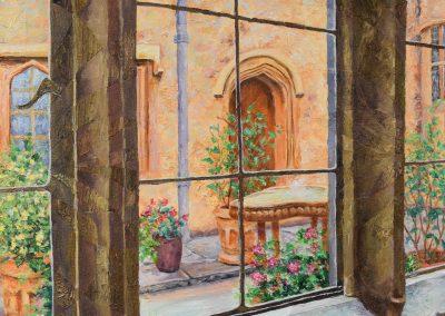 The Courtyard, Acrylic on Canvas, 20.5″ x 54.5″